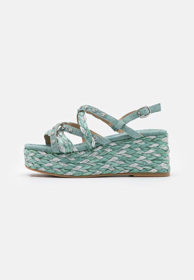 Sandalen met plateauzool - mint