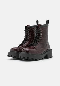 Topshop - BAE SQUARE TOE LACE UP - Lace-up ankle boots - burgundy - 2