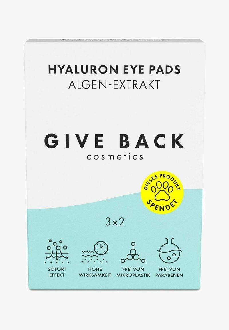 GIVE BACK Cosmetics - HYALURON EYE PADS ALGEN-EXTRAKT – 3ER PACK- SPENDE: TIERSCHUTZ - Eyecare - -