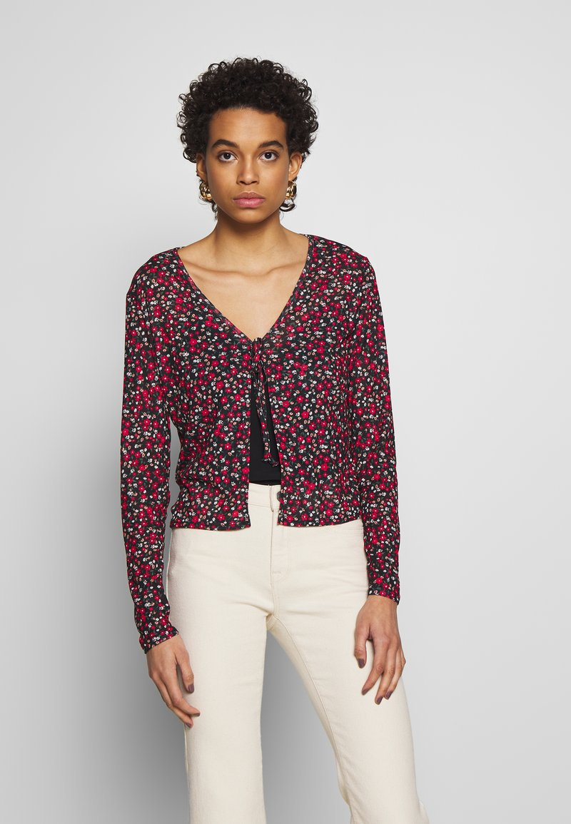 Dorothy Perkins - DITSY PRINT TIE FRONT MESH - Cardigan - red