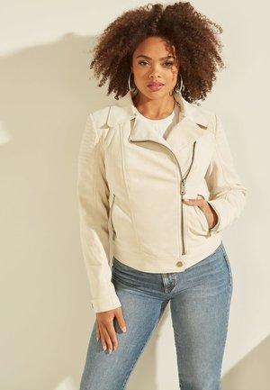 BIKER KUNST - Leather jacket - creme