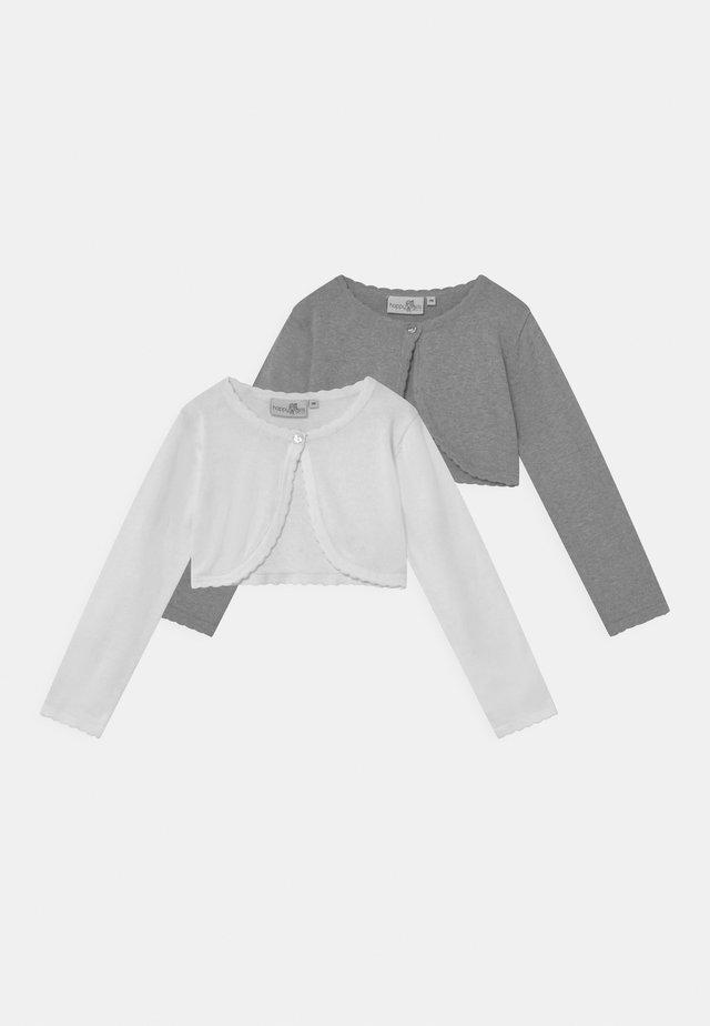 BOLERO 2 PACK - Strickjacke - grey melange/white