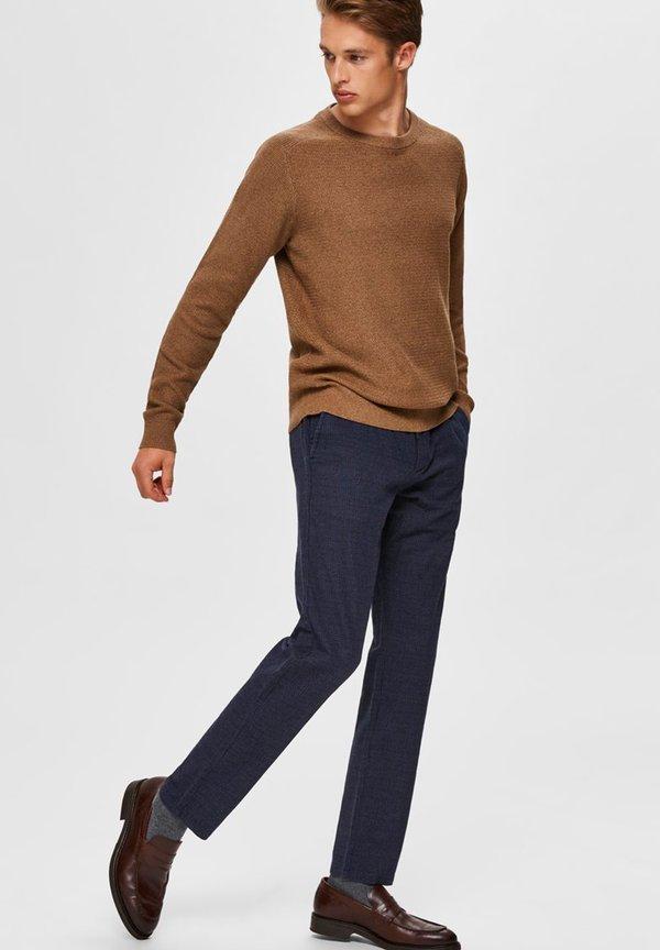 Selected Homme SLHSLIM ARVAL PANTS - Spodnie materiałowe - navy blazer/check/granatowy Odzież Męska AUXC