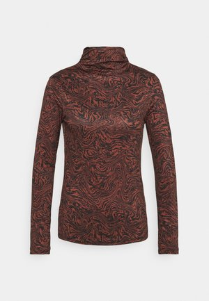 RUCHED TURTLENECK - Long sleeved top - mahogany