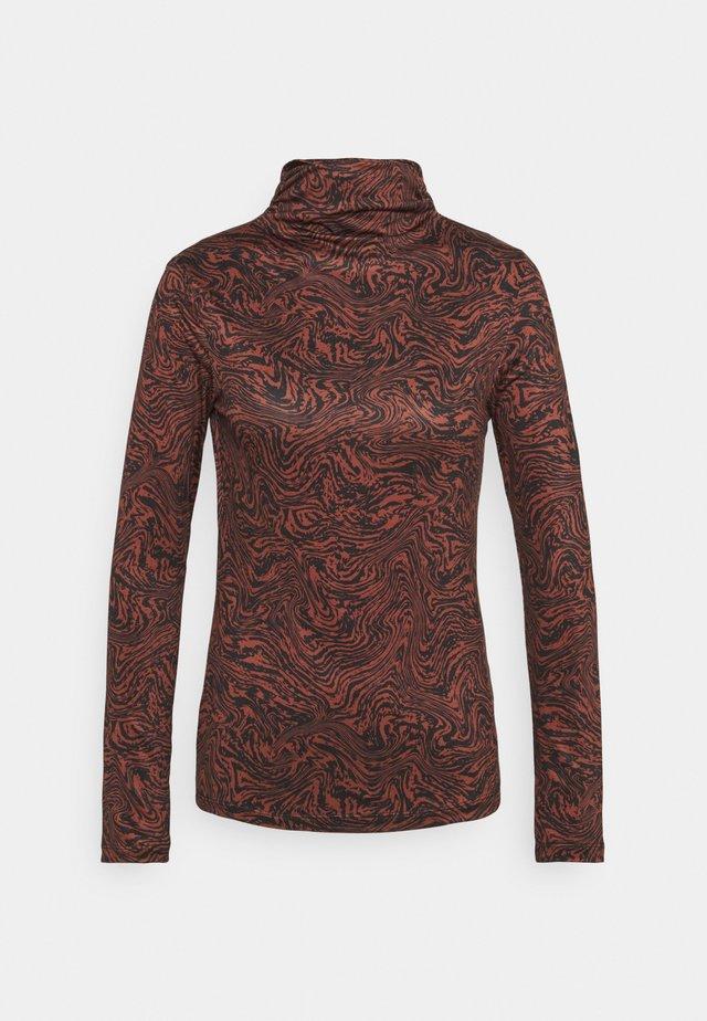 RUCHED TURTLENECK - T-shirt à manches longues - mahogany