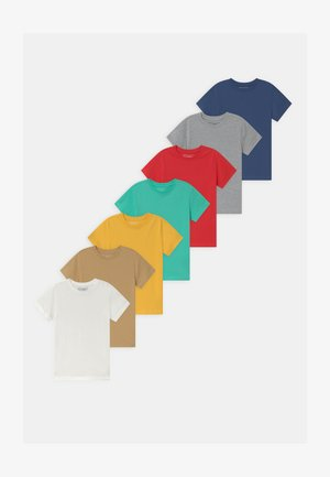 7 PACK - T-shirt basic - dark blue/turquoise/tan