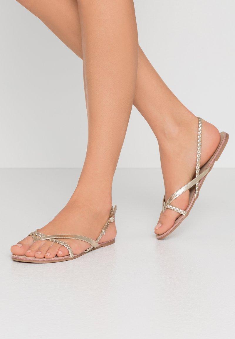 ONLY SHOES - ONLMARGIT BRAID SPLIT TOE  - T-bar sandals - gold