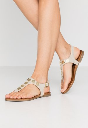 LEATHER - T-bar sandals - white/gold