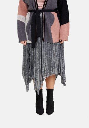 MIT PAILLETTEN - A-line skirt - grigio