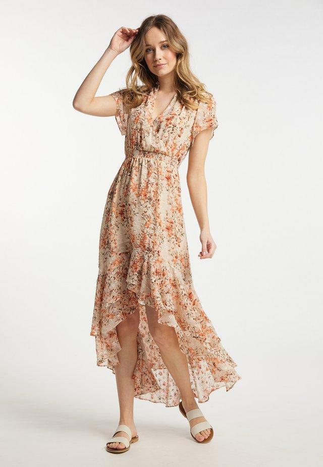 Korte jurk - rost geblümt