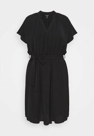 OVERHEAD BELTED - Shift dress - black