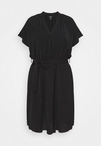 OVERHEAD BELTED - Shift dress - black