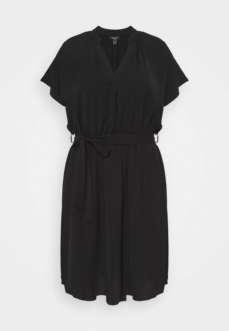 New Look Curves - OVERHEAD BELTED - Shift dress - black