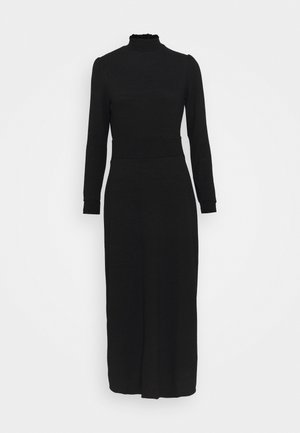 TIERED SHEERED NECK MIDI - Jersey dress - black