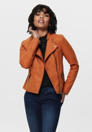 ONLAVA OTW NOOS - Faux leather jacket - gold flame