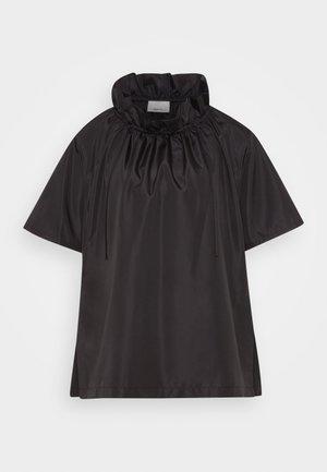 RUCHED NECK BOXING TAFFETA TOP - T-Shirt print - black