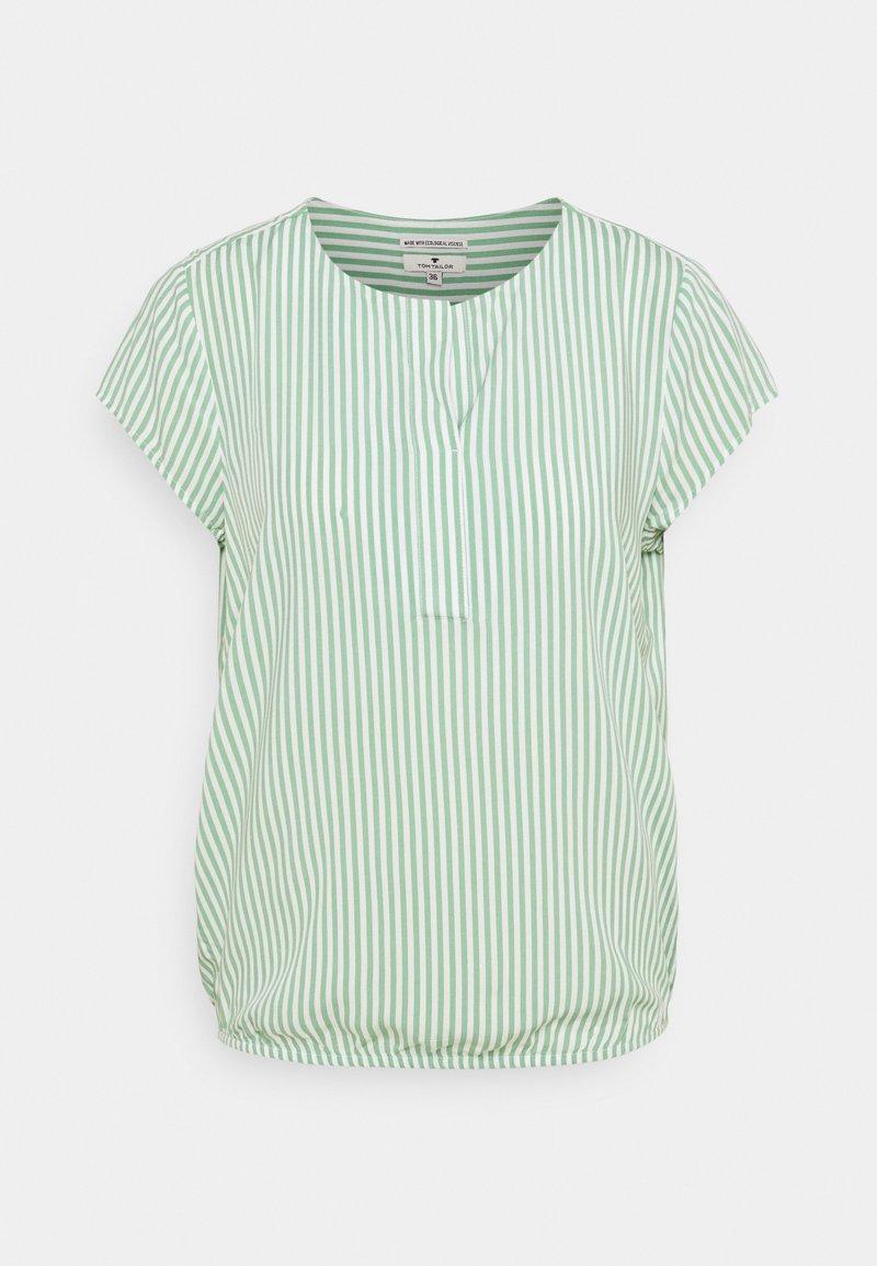 TOM TAILOR - WITH FEMININE NECKLINE - Bluser - green/white