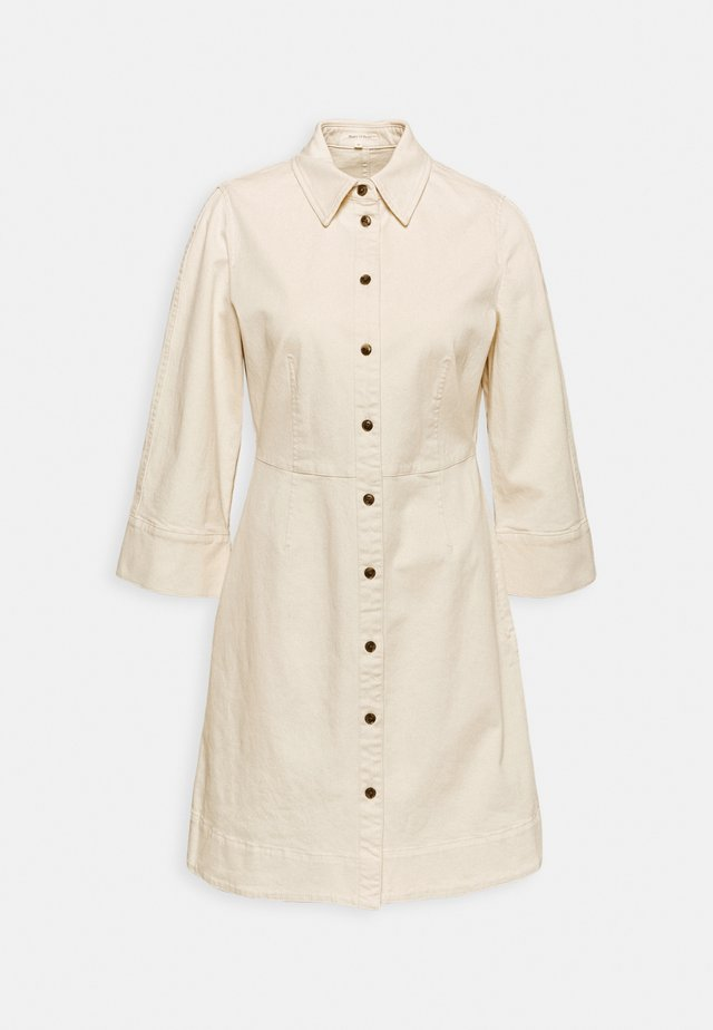 DRESS SHORT SHIRT STYLE,BUTTON PLACKET ROUNDED HEMLINE - Shirt dress - offwhite