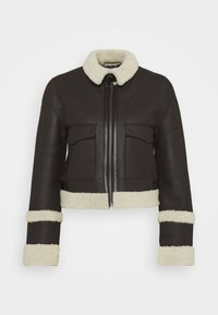 Victoria Victoria Beckham - CROPPED AVIATOR JACKET - Leather jacket - chestnut brown - 8