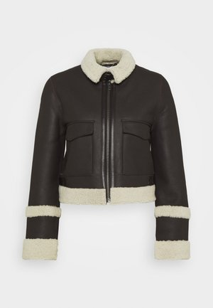 CROPPED AVIATOR JACKET - Leather jacket - chestnut brown