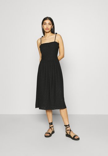 TIE DETAIL MIDI BRODERIE DRESS - Jersey dress - black
