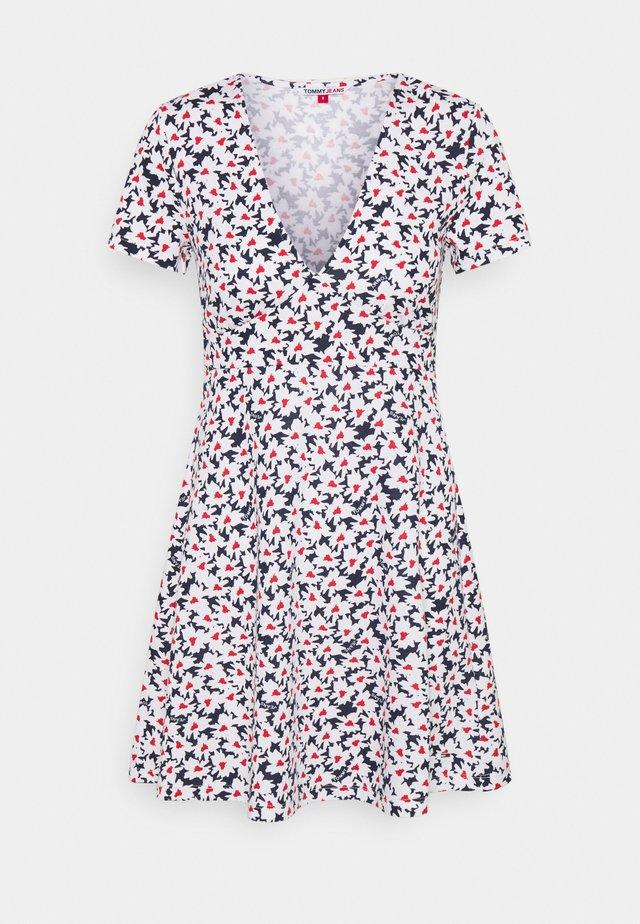 FIT FLARE PRINTED DRESS - Vestito di maglina - navy