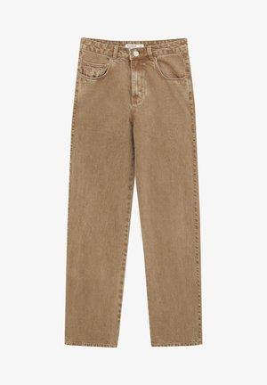 MIT HOHEM BUND - Jeans Straight Leg - mottled light brown