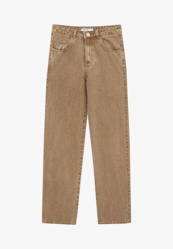 MIT HOHEM BUND - Jeansy Straight Leg - mottled light brown