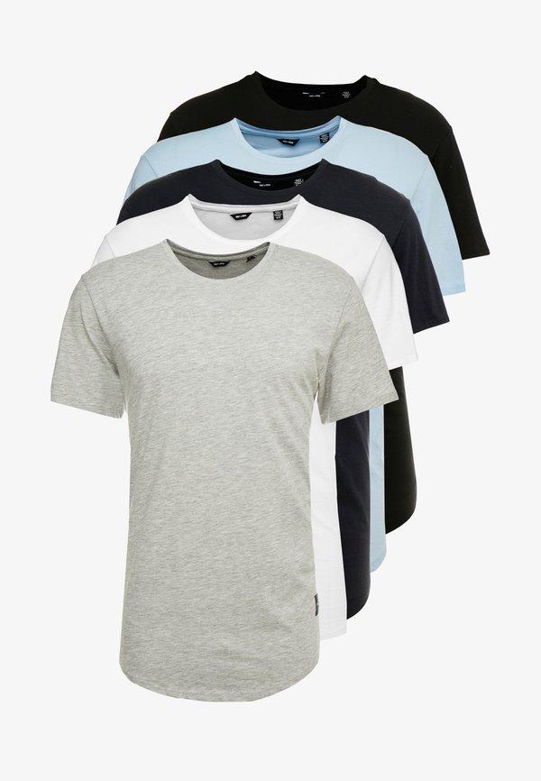 Only & Sons ONSMATT 5-PACK - T-shirt basic - black/white/blue/czarny Odzież Męska YWAU