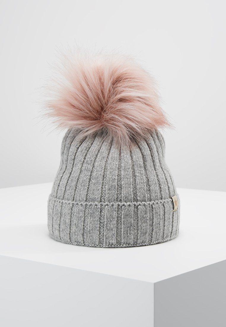 Huttelihut - Muts - light grey / rosa pompom