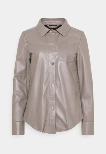 ANAE - LEATHER SHIRT - Button-down blouse - mastic