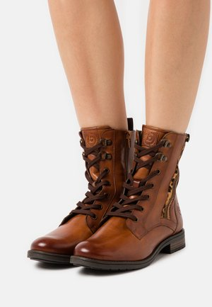 RONJA - Lace-up ankle boots - cognac