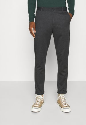 HERRINGBONE PANTS - Chinos - black