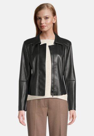 MIT REISSVERSCHLUSS - Leather jacket - schwarz