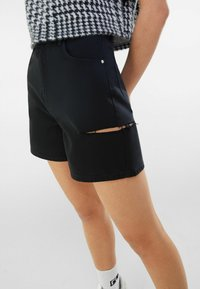 Bershka - Denim shorts - black - 3