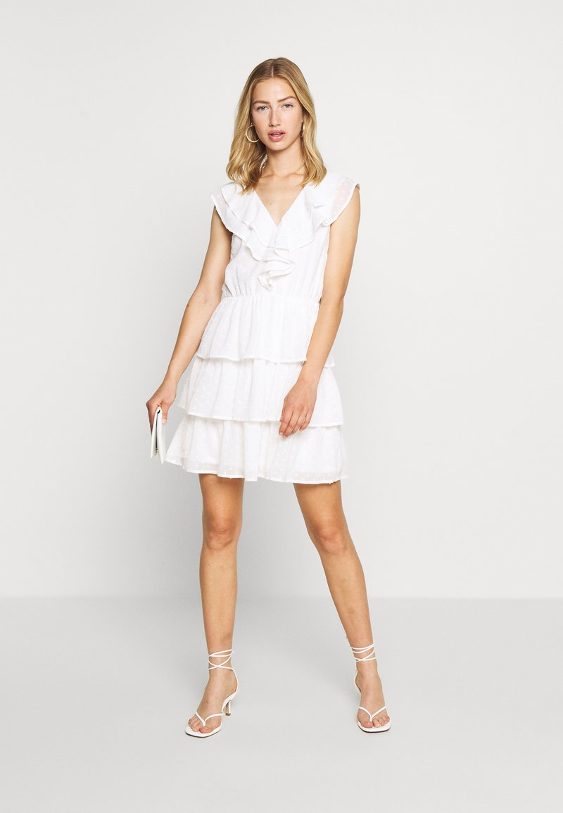 sheer frill dobby dress - cocktailkleid/festliches kleid - white