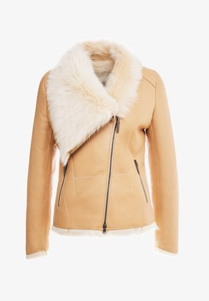 SHORT JACKET - Leather jacket - toscana vanilla