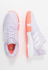 adidas Performance - COURTJAM - Clay court tennis shoes - purple tint/foowear white/signal coral - 0