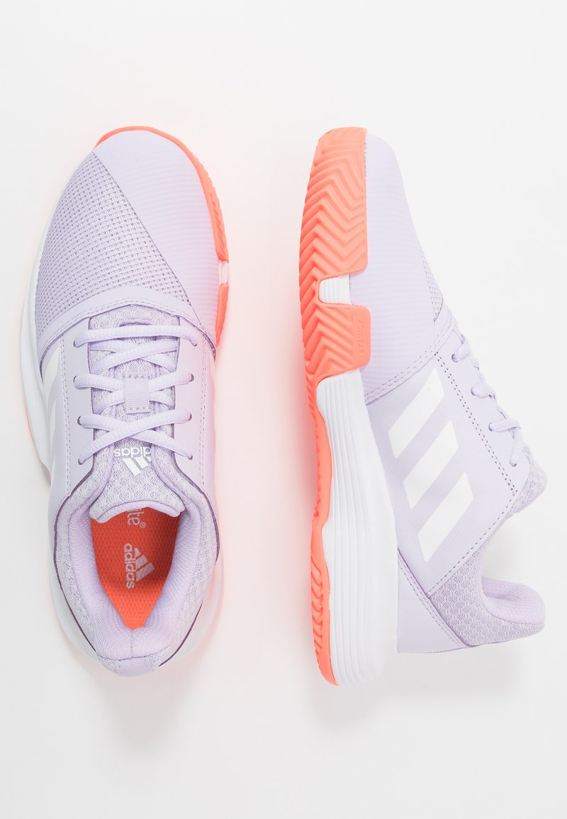 adidas Performance - COURTJAM - Clay court tennis shoes - purple tint/foowear white/signal coral