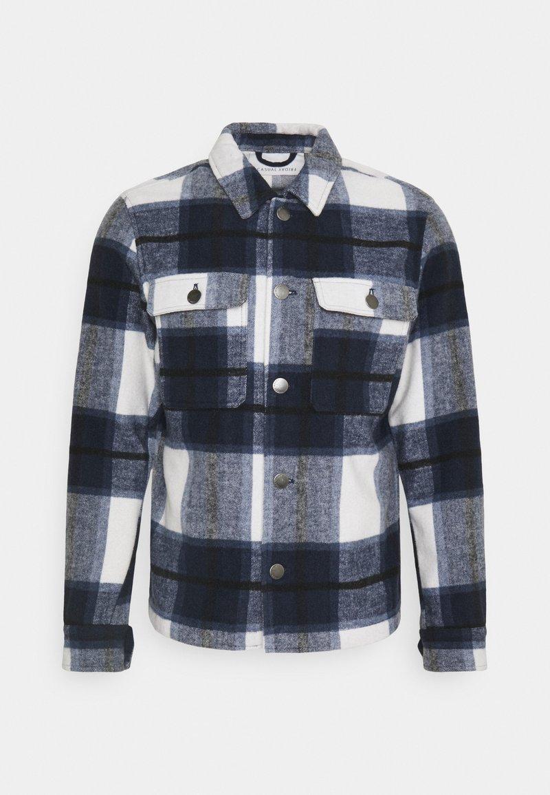 Casual Friday - JUSTAN CHECKED OVERSHIRT JACKET - Summer jacket - navy blazer
