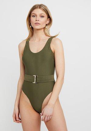 TELMORA SCOOP NECK BELTED SWIMSUIT - Swimsuit - khaki