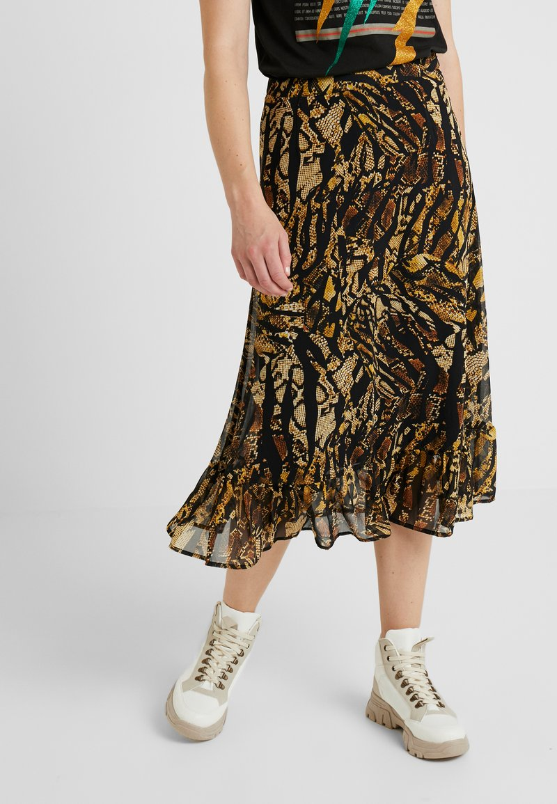 Gestuz - TASNIM SKIRT - A-line skirt - stripe yellow snake