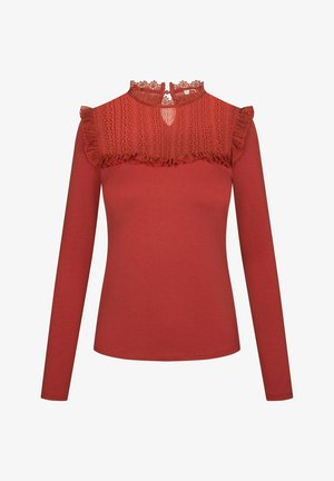 MIT SPITZE - Long sleeved top - herbstrot