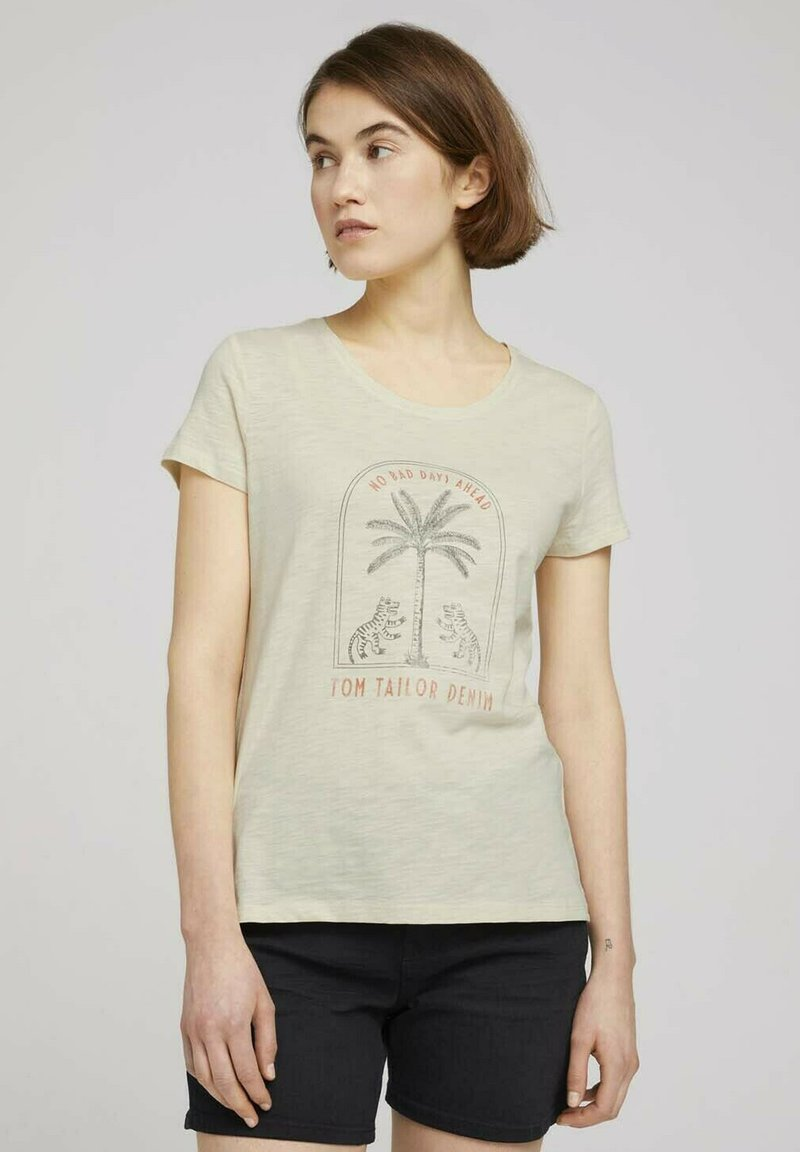 TOM TAILOR DENIM - Print T-shirt - soft creme beige