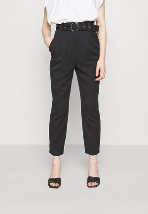 TIE WAIST TAPERED TROUSER - Trousers - black