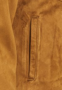 Abercrombie & Fitch - SUEDE ZIP TRUCKER  - Faux leather jacket - cognac - 2