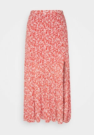 TIERED HIGH SLIT MAXI SKIRT - Maxi skirt - red