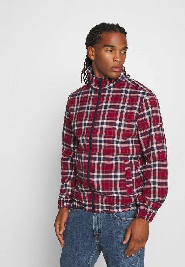 PLAID TRACK JACKET - Summer jacket - wine red/multi