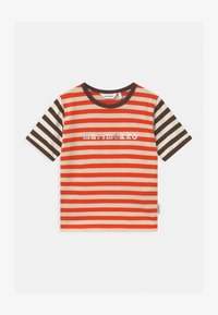 Marimekko - LEUTO TASARAITA UNISEX - T-shirt imprimé - orange red/light beige - 0