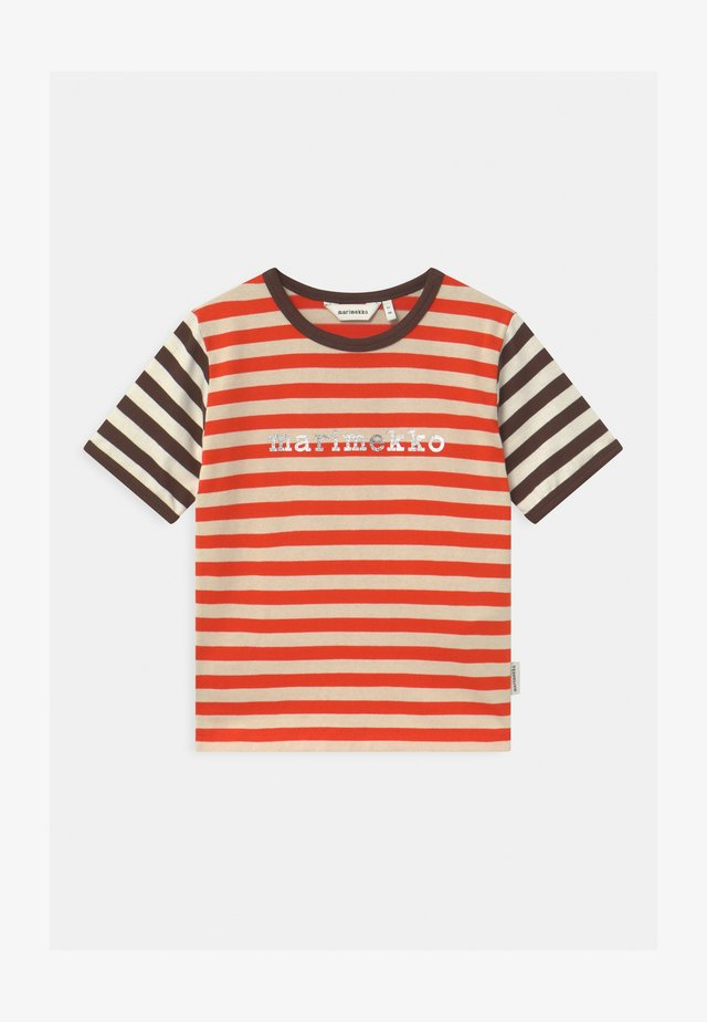 LEUTO TASARAITA UNISEX - T-shirt imprimé - orange red/light beige